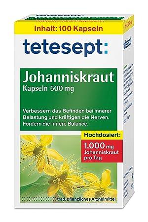 tetesept Johanniskraut Kapseln 500 mg – Kapseln zur Stabilisierung bei innerer Belastung - verbessern das Befinden und kräfti
