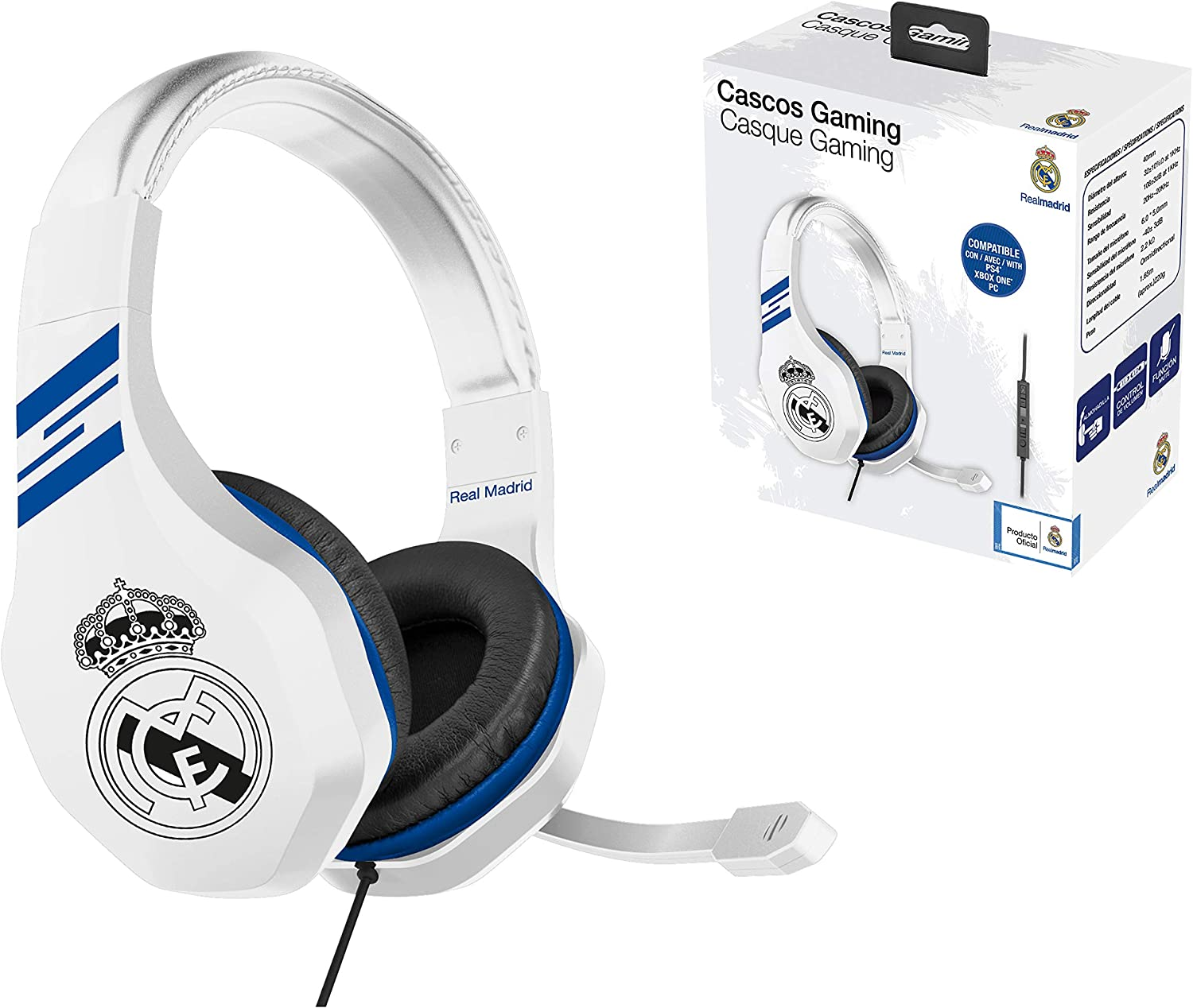 Real Madrid Auriculares gaming - accesorio gamer para PS4, PS4 Pro ...