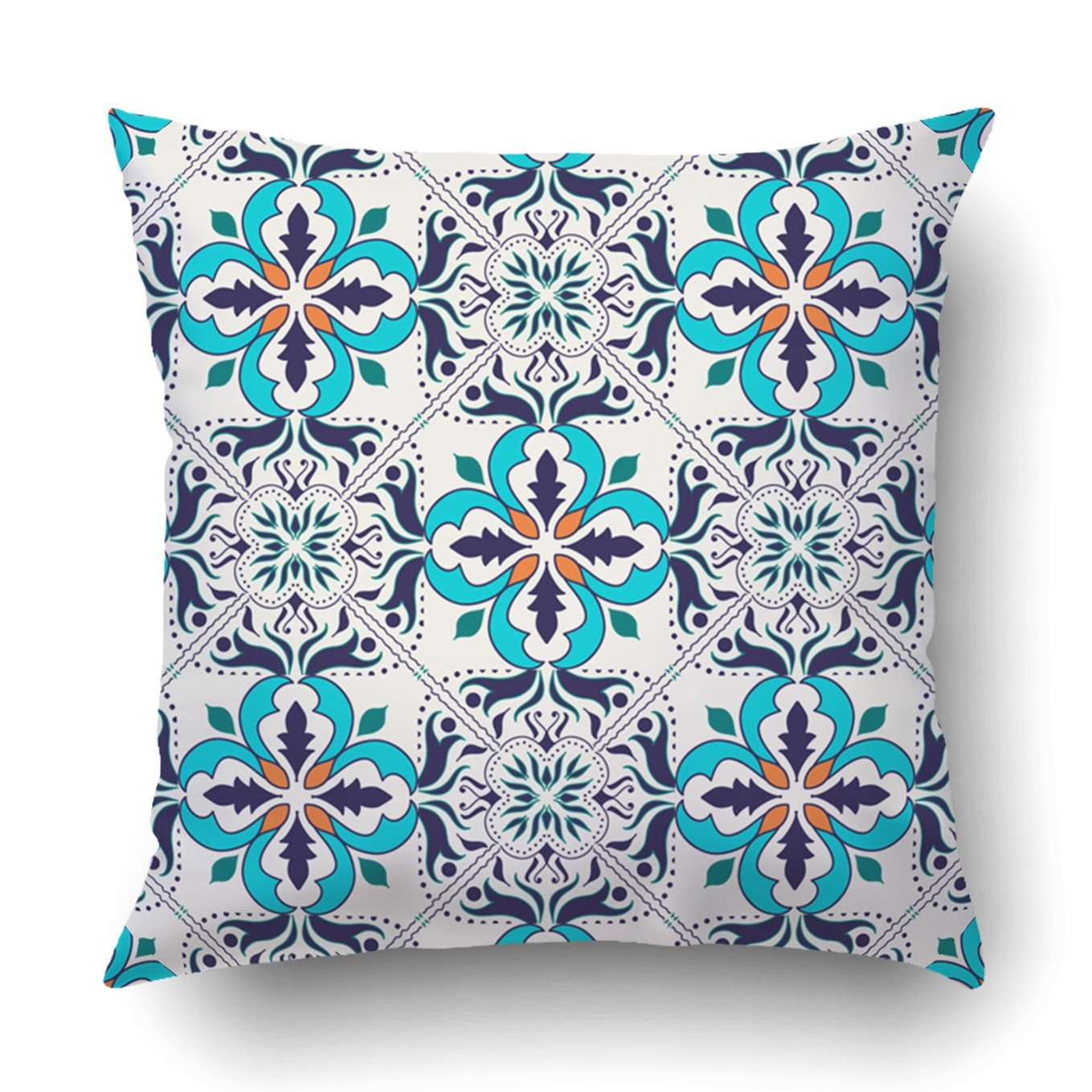 Emvency Decorative Throw Pillow Cover Case for Bedroom Couch Sofa Home Decor Vintage Italian tile with Moroccan pattern Square 16x16 Inches Moroccan