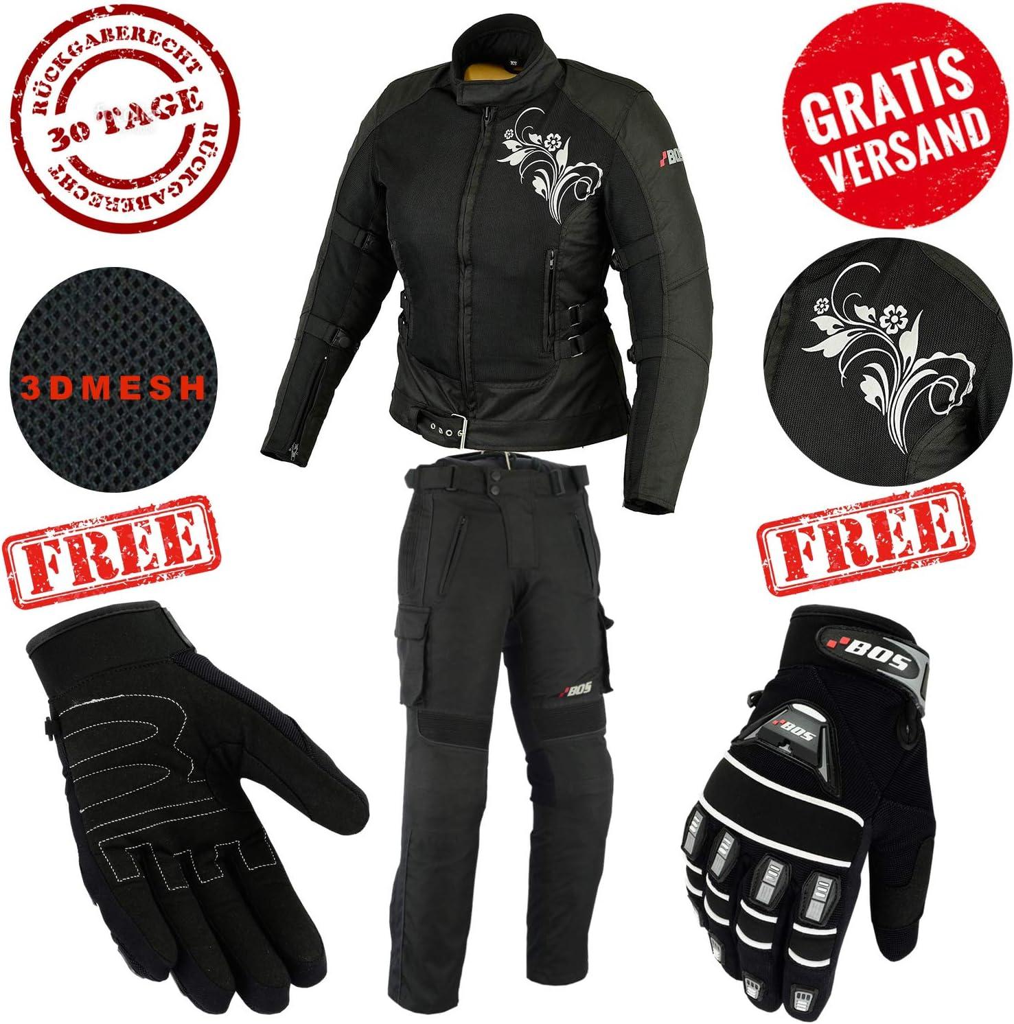 XS BOS Damen Motorrad Jacke Motorradjacke Textil Schwarz