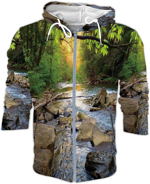 Mountain Trout Stream in Pennsylvania Pennsylvania,Men's Packable Rain Jacket Somerset Pennsylvania S