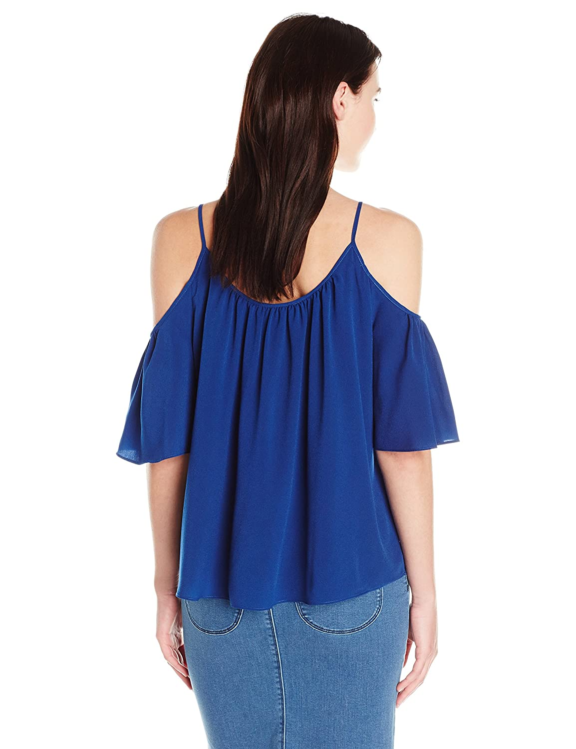 French Connection Womens Polly Plains Cold Shoulder Top