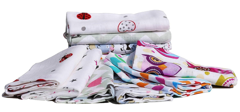 certifi/é Oeko-Tex Standard 100 filles 70 x 80 cm ClevereKids Langes b/éb/é en mousseline de coton color/ées| Lot de 12 double tissage