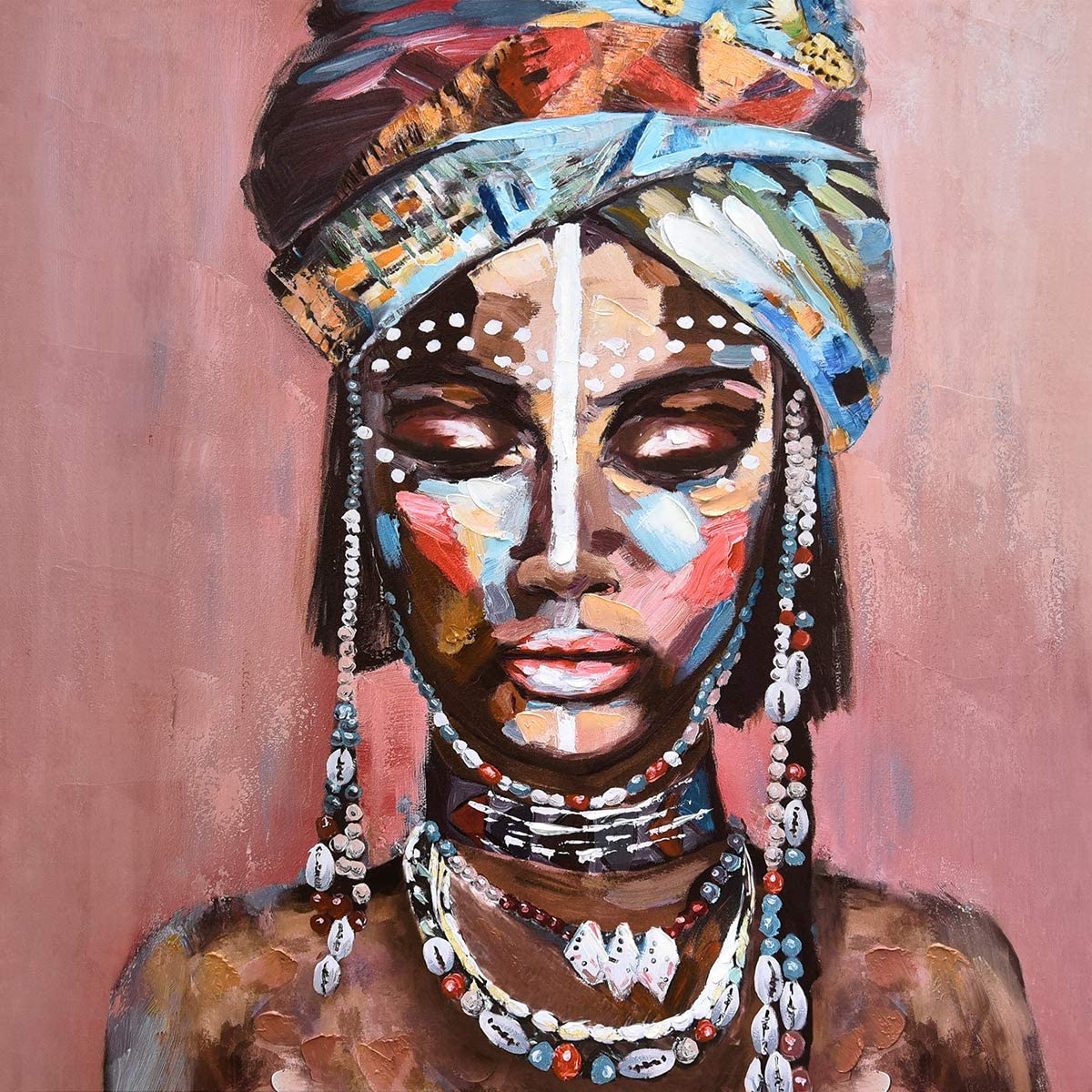 Large Canvas Prints Wall Art Photo for Home, African American Black Girl Oil Paintings, 3D Hand Painted Colorful Modern Indian Worman Pictures for Bedroom, Living Room, Ready to Hang 36x36 Inches