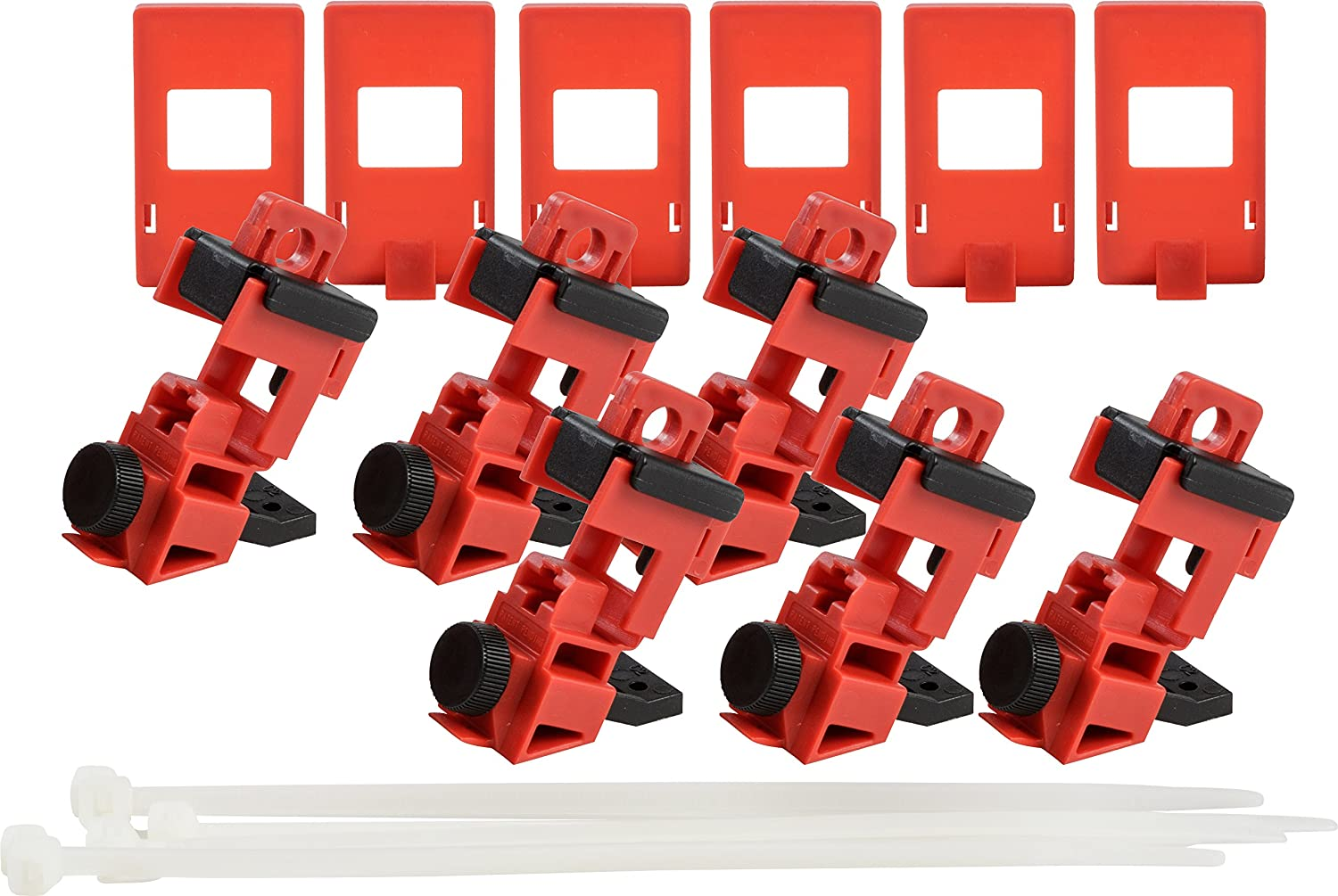 Brady Taglock Circuit Breaker Lockout Devices 120//277 Volt Clamp-On Single-Pole Breaker Lockout Device with Detachable Cleat Red 148698 No Lock Needed Pack of 6