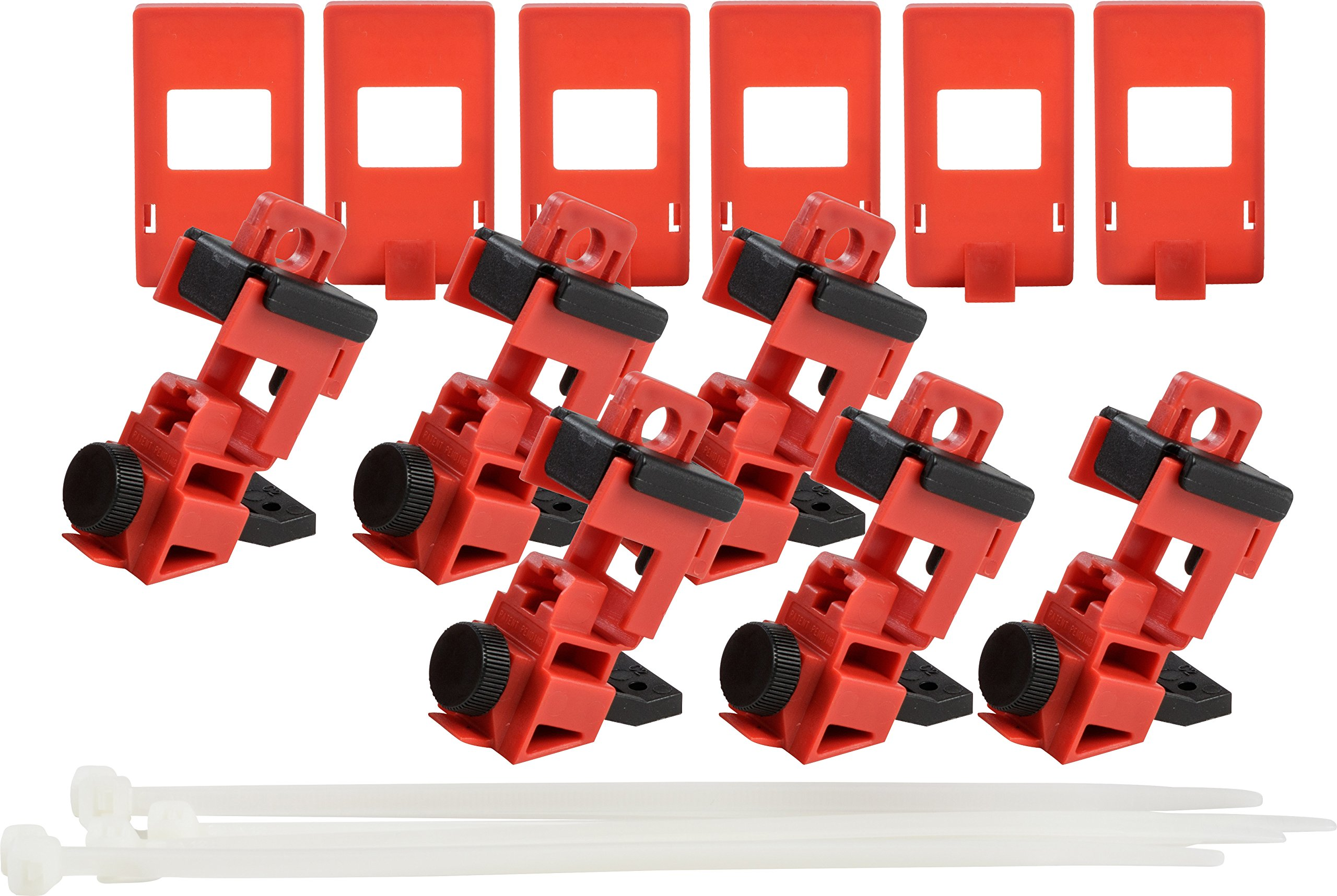 Brady Taglock Circuit Breaker Lockout Devices - 120/277 Volt Clamp-On Single-Pole Breaker Lockout Device with Detachable Cleat, No Lock Needed - Red - 148698 (Pack of 6)