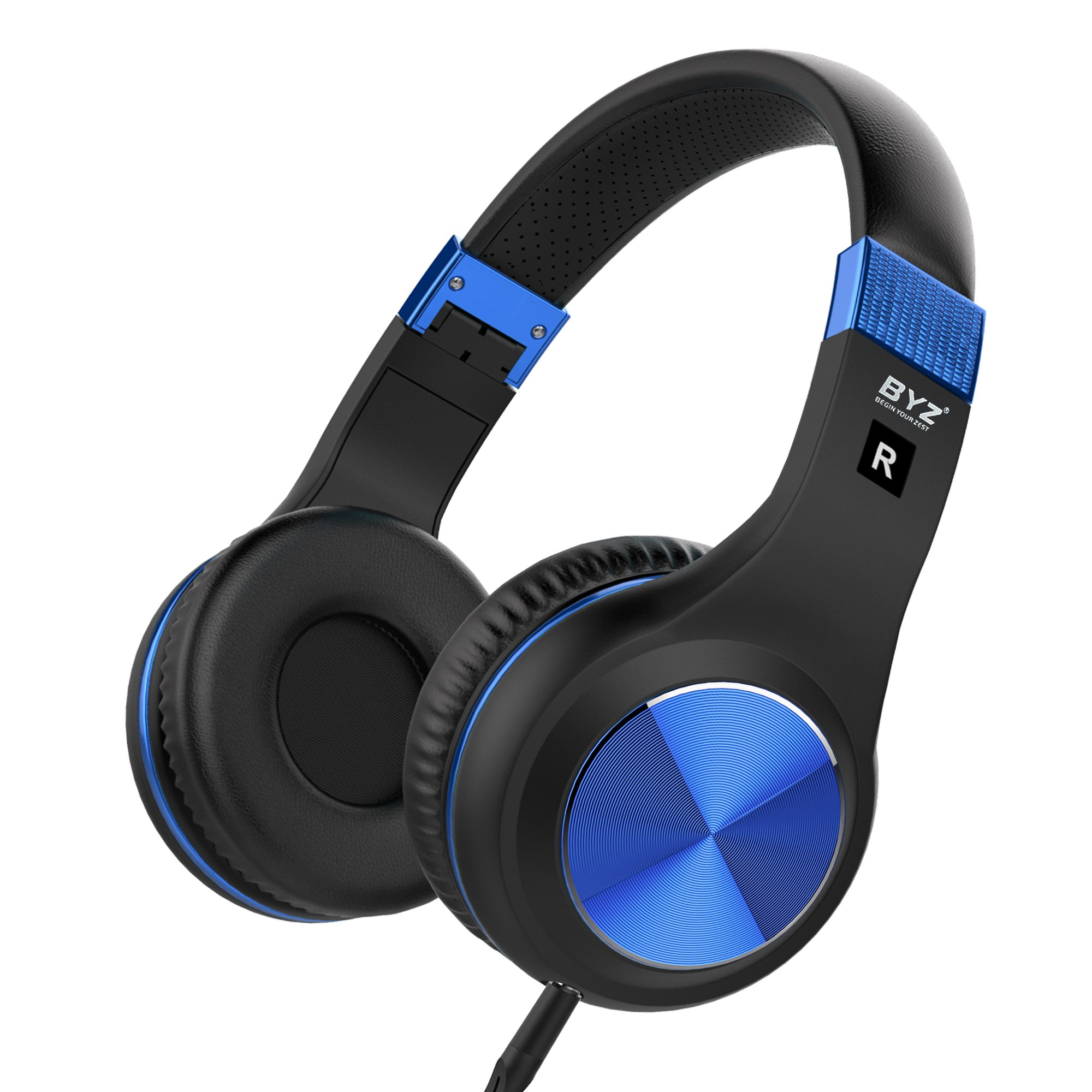 BYZ Stereo Over-Ear Headphones with Microphone Lightweight and Foldable Wired Headphones by BYZ