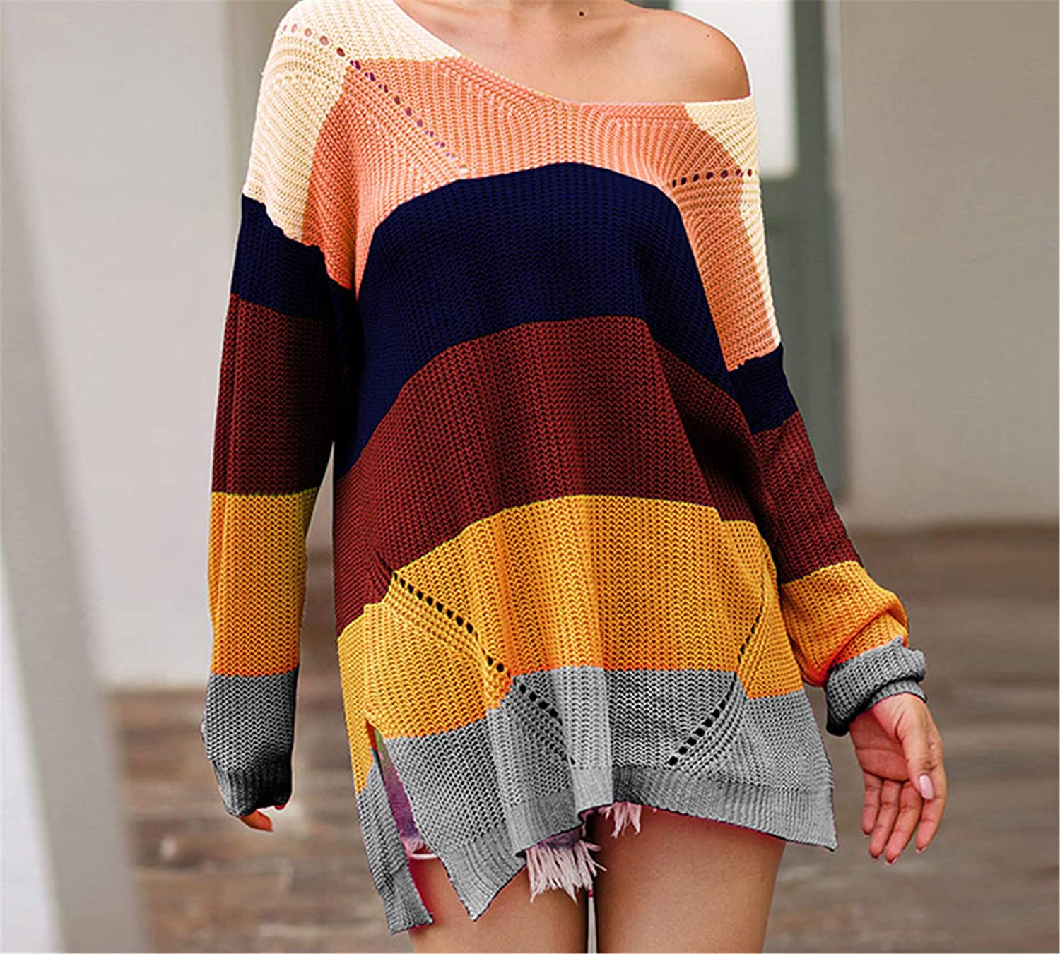 Oversize Rainbow Womens Sweater Casual Plus Size Multicolor Knitted Autumn Winter Pullover Striped Female Jumper