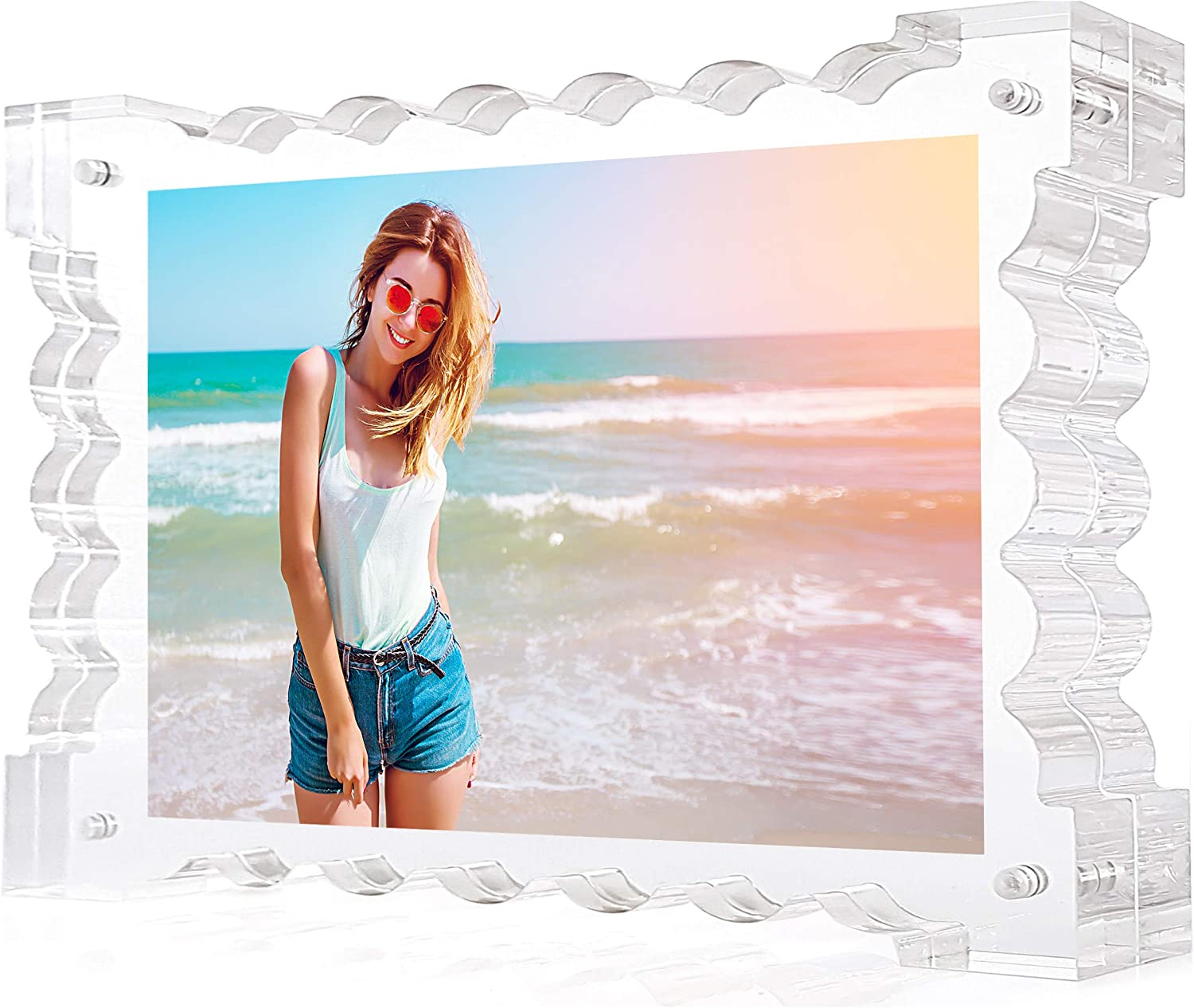 TOVLIS Floating Acrylic Picture Frames 5x7 - Frameless, Clear, Wave Design Photo Frame, Double Sided Elegant Teenage Girl Room Decor