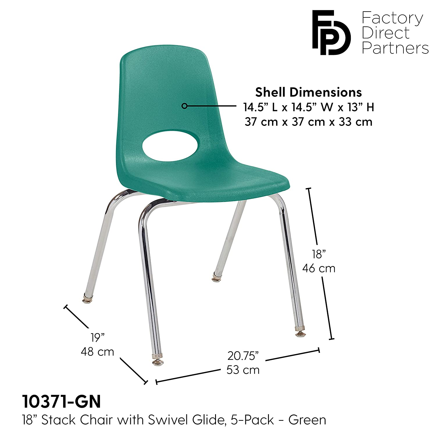 16 School Stack Chair,/Stacking Student Chairs with Chromed Steel Legs and Nylon Swivel Glides Red 6-Pack