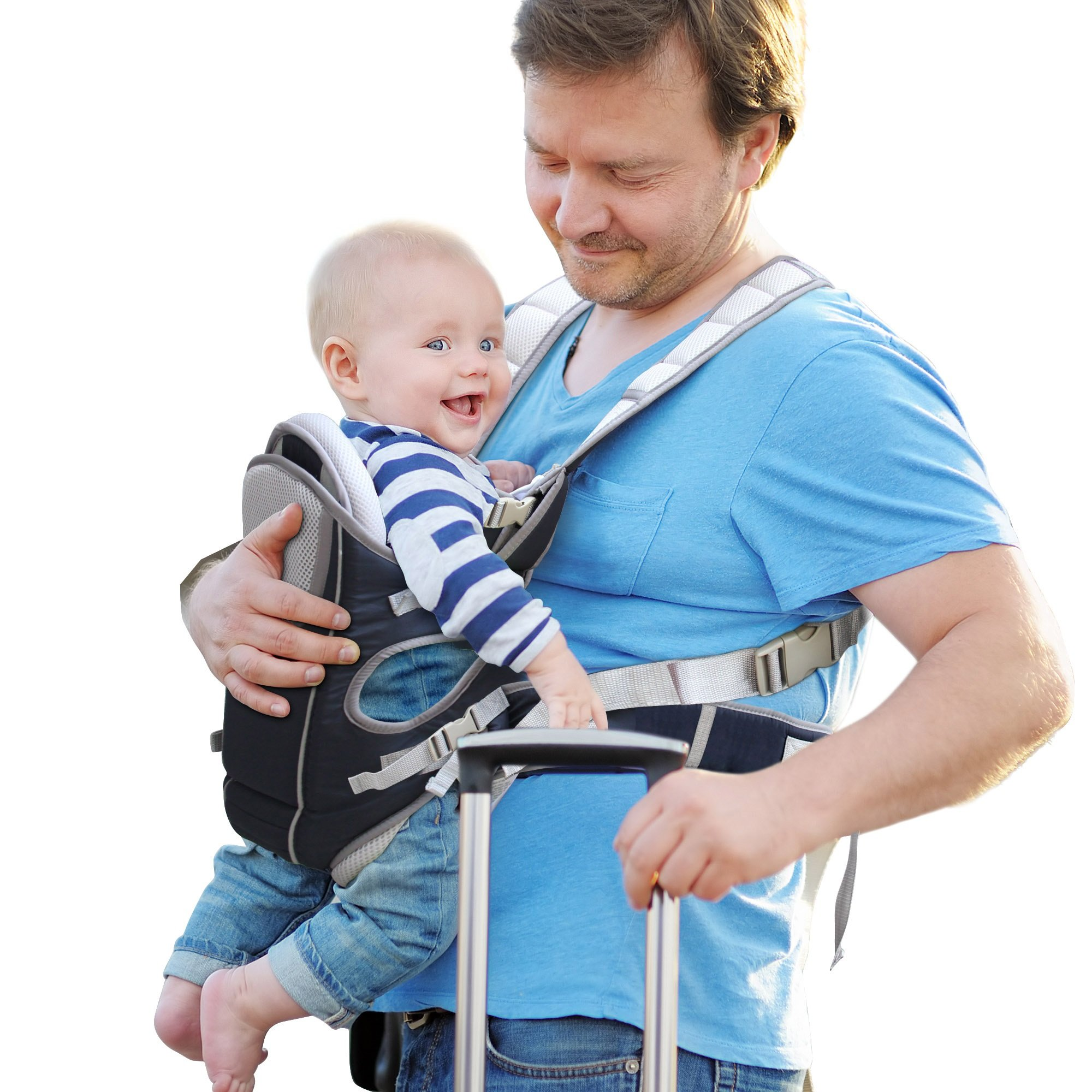Baby Carrier for Infants and Toddlers - 4 Carrying Positions - 100% Breathable Soft Machine Washable! Adjustable Baby Sling Carrier for Hiking - A Great Baby Shower Gift