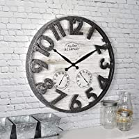 FirsTime & Co. Farmhouse Outdoor Wall Clock, Light Gray, (18 x 2.5 x 18)