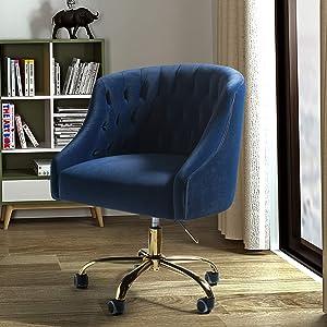 Mid Century Modern Tufted Velvet Task Chair for Home Office - Navy Blue