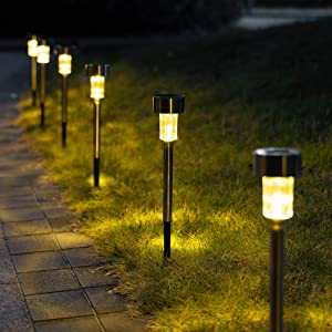 GIGALUMI Solar Pathway Lights 12 Pack, Stainless Steel IP44 Waterproof Auto On/Off Outdoor LED Solar Landscape Lights for Garden, Yard, Patio, Path and Walkway. (Warm White)