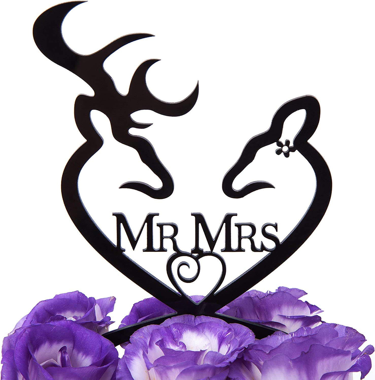 LOVENJOY Gift Boxed Deer Wedding Cake Topper Buck and Doe Mr and Mrs Black