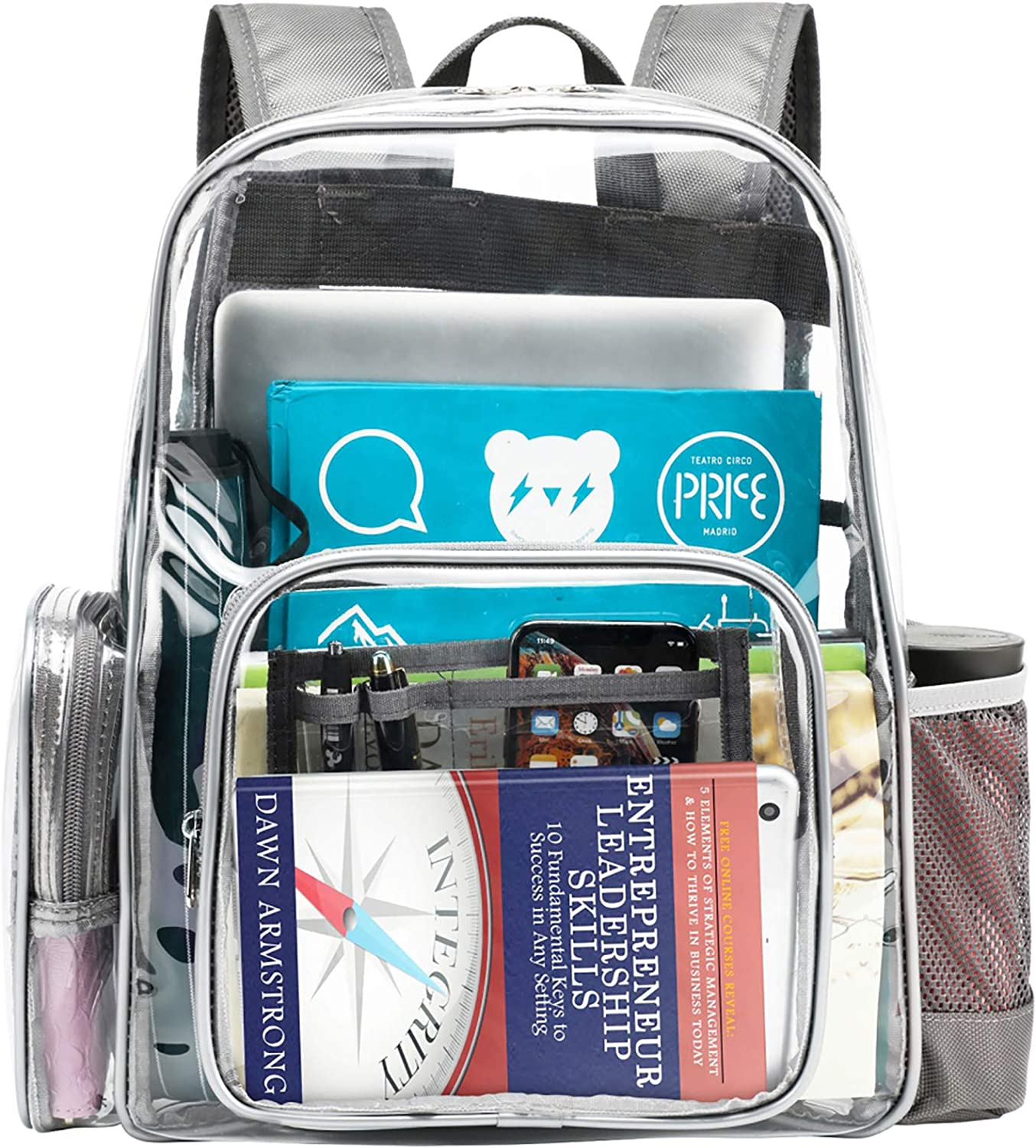 Clear Backpack, Ace Teah Heavy Duty Backpacks, Transparent Backpack for School, Light Grey