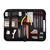 SODIAL Guitar Repair and Maintenance Accessories Kit - Complete Care Set of Tools for Guitar Ukulele & Bass. Guitar Kit with Convenient Case