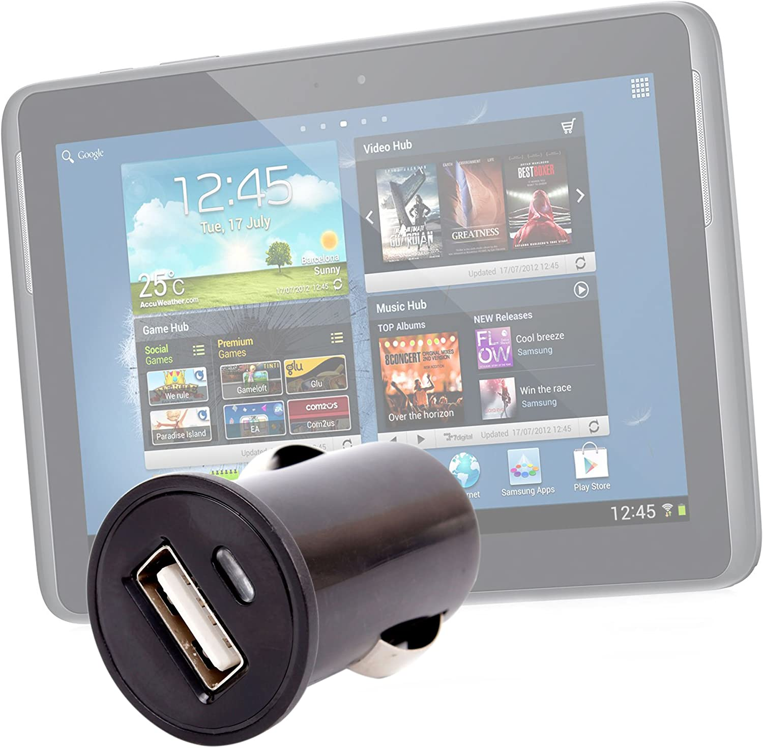 DURAGADGET Black Compact in Car Charger for  Kindle Fire HDX 8.9