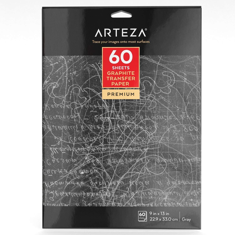 Carta Carbone Arteza, Carta Copiativa in Grafite, Confezione da 60 Fogli 22,9 x 33 cm, Carta Trasferibile per Ricalco A4 ARTZ-8096