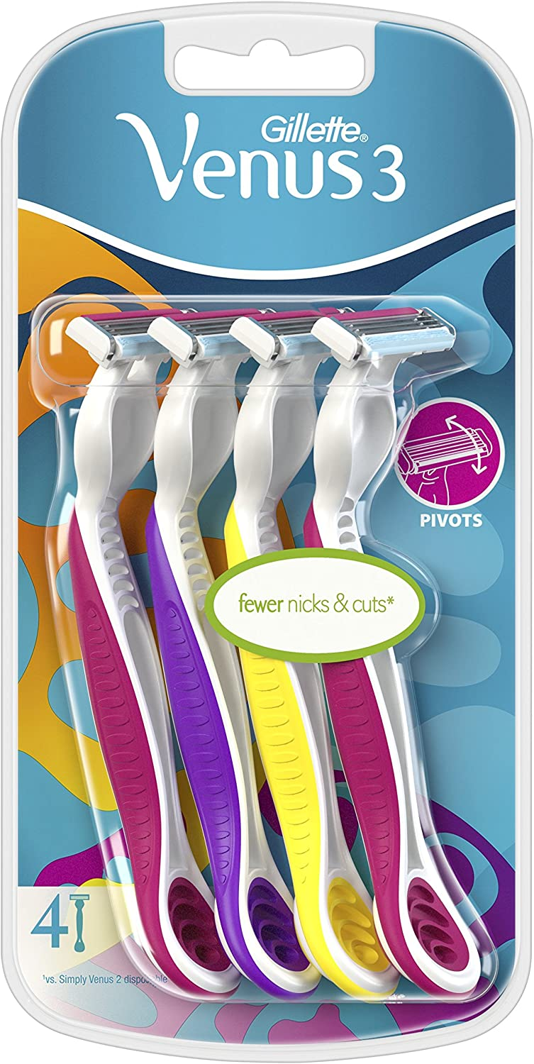 Gillette Venus3 Women's Disposable Razors, 4 Pack, Colourful Razors with 3 Blades and Moisture Strip