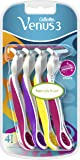 Venus Gillette 3 Women's Disposable Razors with 3 Blades and Moisture Strip, Pack of 4