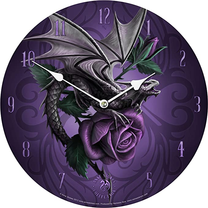 Naiad Purple Fairy /& Dragonfly Round Plate Wall Clock By Designer Anne Stokes