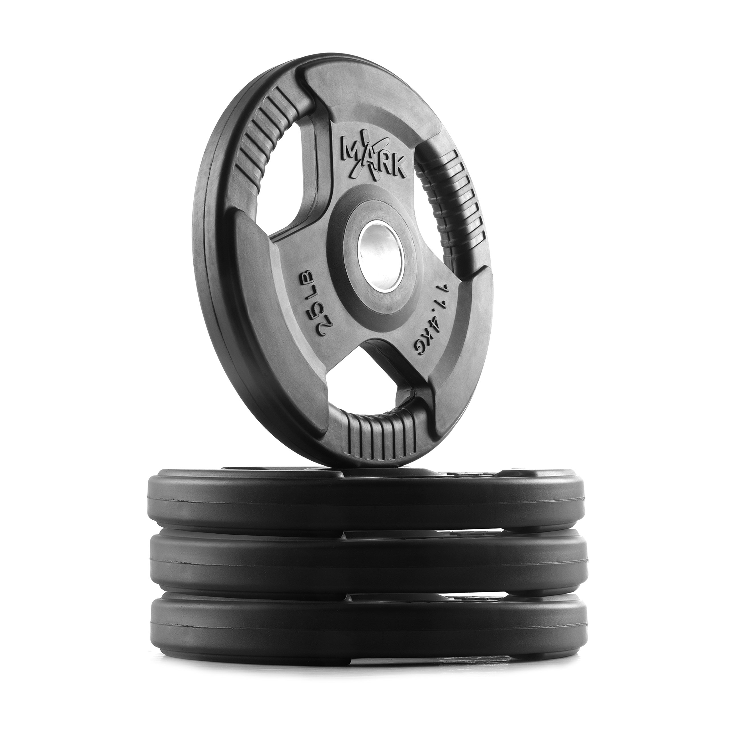 XMark TRI-Grip 100 lb Set Olympic Weights, Premium Rubber Coated Olympic Plates, One-Year Warranty by XMark Fitness (Image #1)