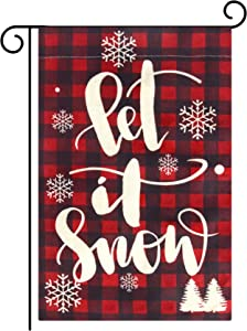 "Besteek Christmas Garden Flag, Buffalo Plaid Christmas Decorations, Farmhouse Small Burlap Double Sided Christmas Flag, Merry Christmas Burlap Yard Outdoor Decoration (12.5"" x 18"")"