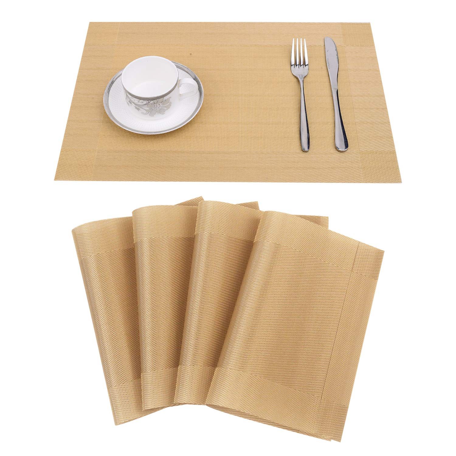 ABCCANOPY Placemats for Dining Table Heat Resistant Crossweave Woven Vinyl Non-Slip Insulation Washable Kitchen Table Mats Decoration Set of 4