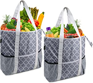 Heavy Duty Cooler Insulated Bags Set of 2 Large Reusable Grocery Shopping Bags with Zipper Top Long Handles Thermal Food Delivery Bags to Keep Food Hot or Cold Grey Cute Geometric Design