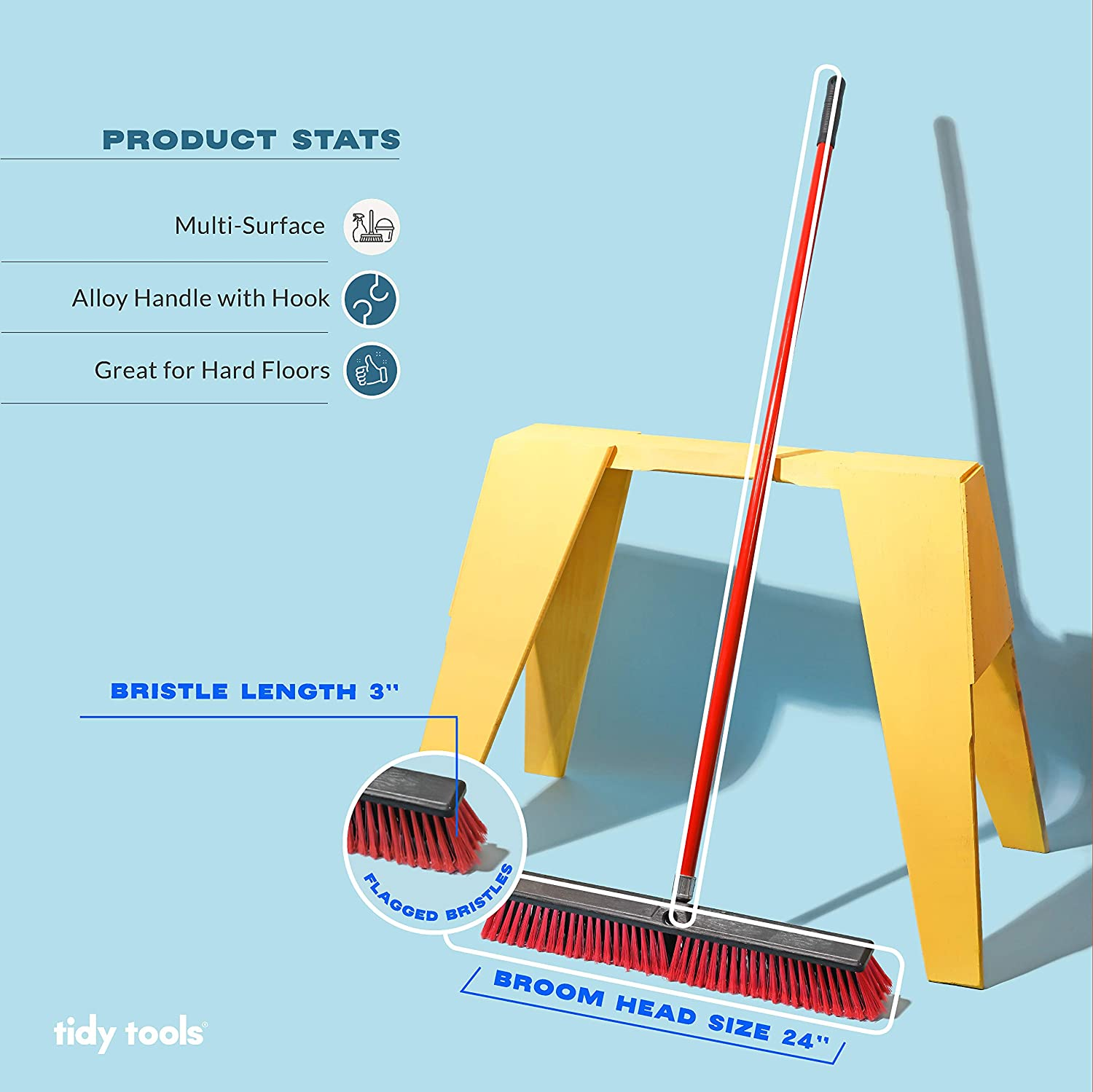 Tidy Tools Large 24'' Multi-Surface Push Broom with Alloy Handle: Kitchen & Dining
