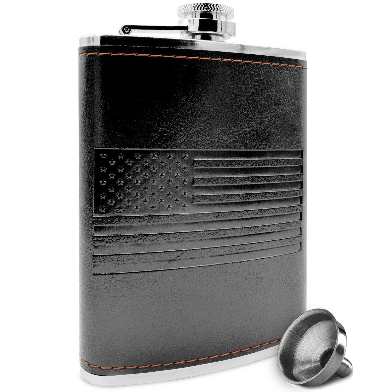 Premium Black American Flag Flask - Soft Touch Wrap   18/8 304 Highest Food Grade Stainless Steel   Leak Proof - Liquor, Whiskey Hip Flasks   Includes Bonus Funnel (USA 8 oz Black)