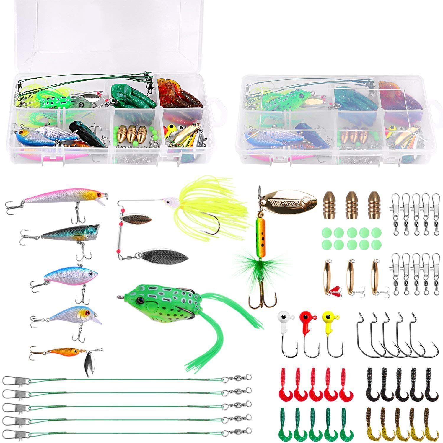 PLUSINNO Fishing Lures Baits Tackle Including Crankbaits, Spinnerbaits, Plastic Worms, Jigs, Topwater Lures, Tackle Box and More Fishing Gear Lures Kit Set (67Pcs Fishing Lure Tackle) by PLUSINNO