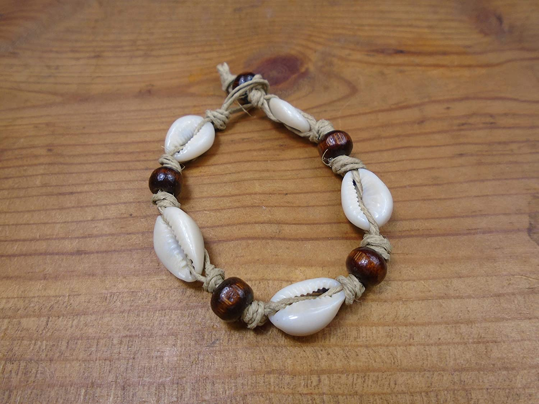 BEACH HEMP JEWELRY Cowrie Shell Bracelet Anklet 6.5 Inch Mens Womens Handmade In USA