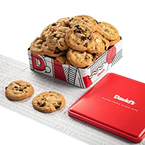 David's Cookies - 12 Fresh Baked Cherry with White Chip Cookies Gourmet Gift Basket - Holiday & Corporate Food Tin - Idea For Men & Women - Certified Kosher - 1 lb