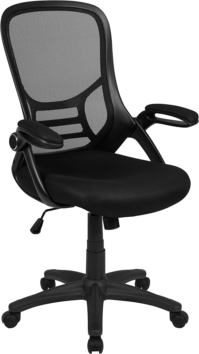Flash Furniture High Back Black Mesh Ergonomic Swivel Office Chair with Black Frame and Flip-up Arms