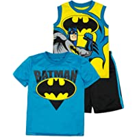 DC Comics Conjunto Deportivo de Batman con Pantalón Corto, Camiseta sin Mangas y Camiseta de Manga Corta para Niño