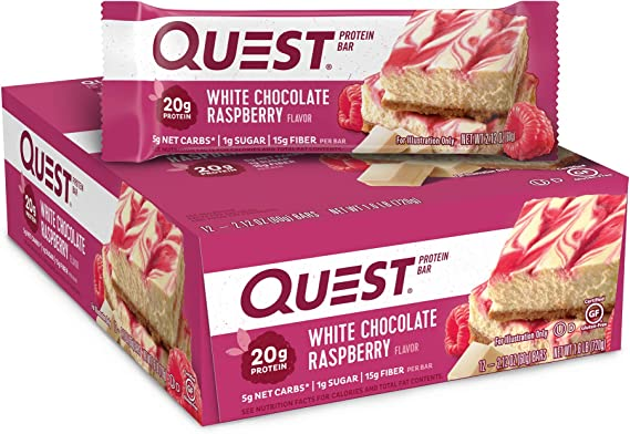 Quest Nutrition White Chocolate Raspberry Quest Bar - Pack of 12 ...