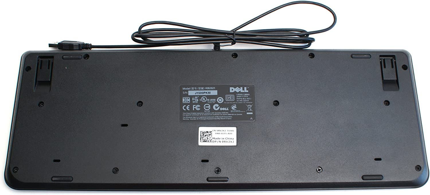 KB2521 Dell Black USB Slim Keyboard 104-Keys Fold Out Feet Dell Compatible Part Numbers KB2521 RV2X2 Compatible Model Number Genuine RV2X2