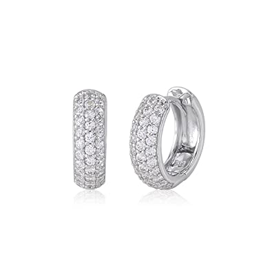 92bc15c86 Amazon.com: UNICORNJ 14K White Gold Wide Round Hoop Huggie Earrings with  Pave CZ's 12mm Italy: Jewelry