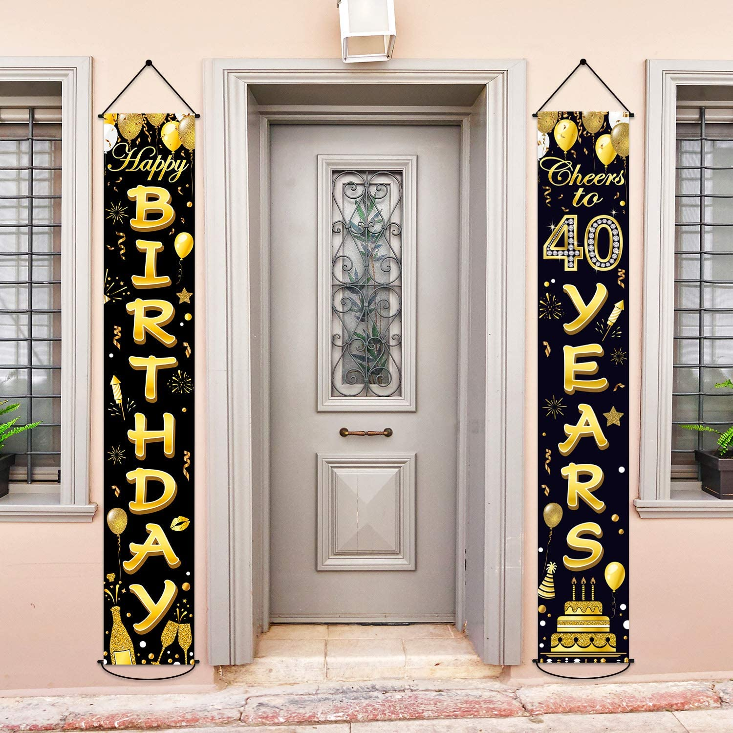 40th Birthday Party Banner Decorations Cheers to 40 Years Banner 40th Party Gold