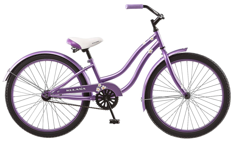 Kulana Girls Hiku Cruiser Bicycle with 24 Wheels, Purple, 12 Small frame size