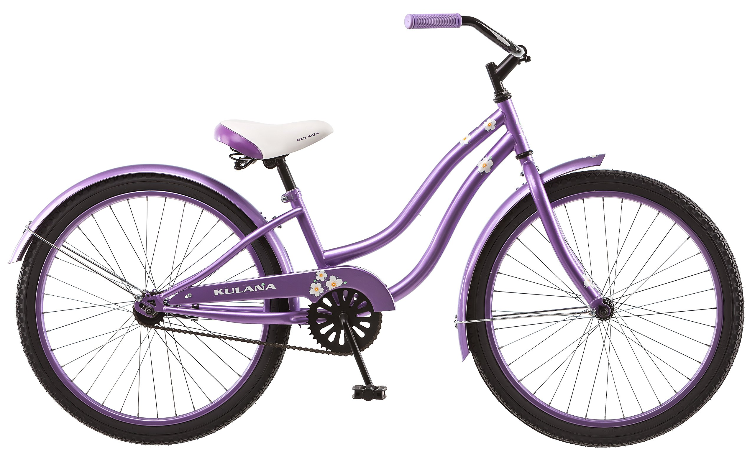 Kulana Girls Hiku Cruiser Bicycle with 24'' Wheels, Purple, 12''/Small frame size