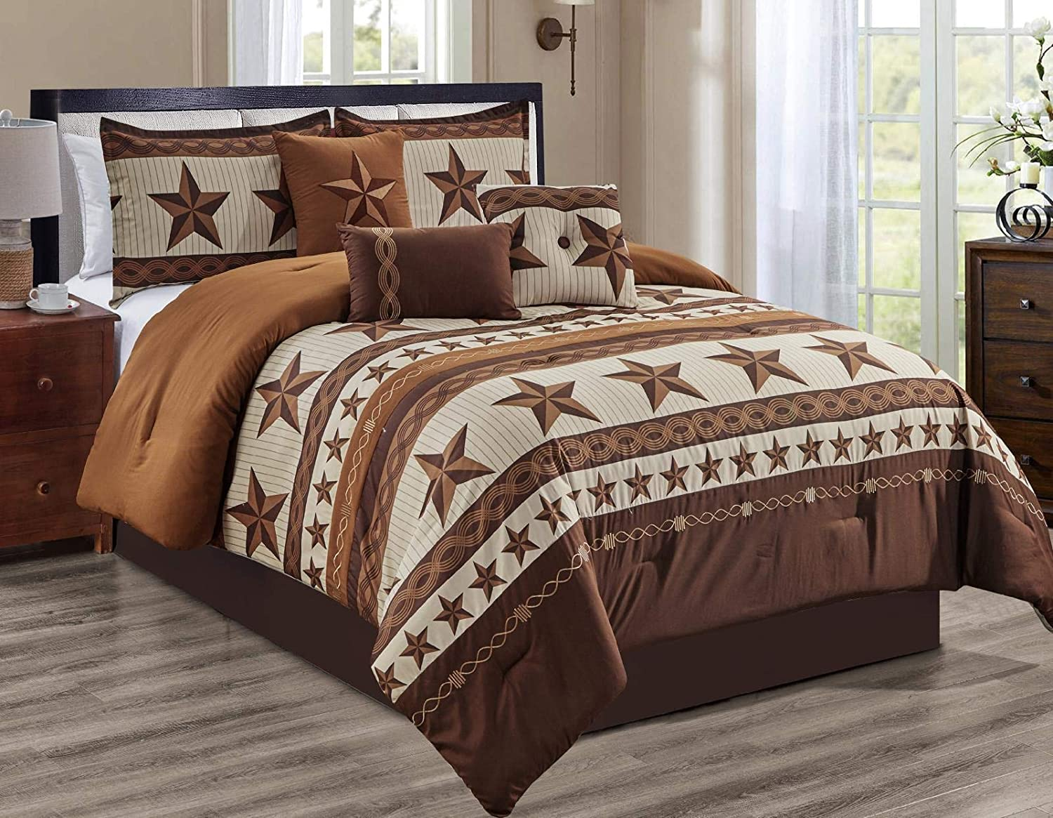 Luxury South Western Pattern Barbed Wire Rustic Brown Star Comforter Set - 7 Piece Set (Queen)