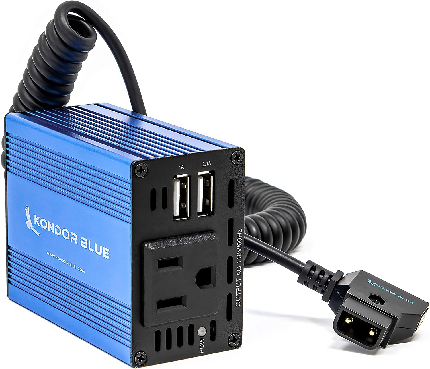 P-TAP V Mount Gold Battery More 110V KONDOR BLUE SPARK100 Quasar D TAP to AC Power Supply Inverter 100W Mobile Wall Plug Outlet for powering Quasar T8 T12 X Crossfade LED Lights House Bulbs Lamps