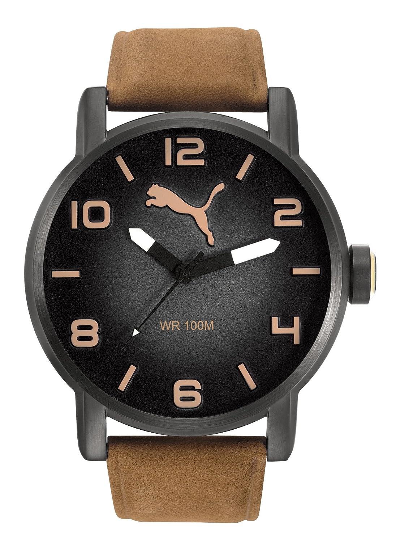Puma Time Herren Armbanduhr Datum klassisch Quarz Leder PU104141004