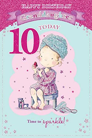 Granddaughters 10th birthday card 10 today girl red nail polish bookmarktalkfo Gallery