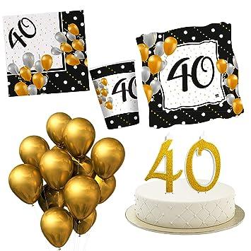 Kit Fiesta 40 años cumpleaños con Vela para Tarta - Adornos ...