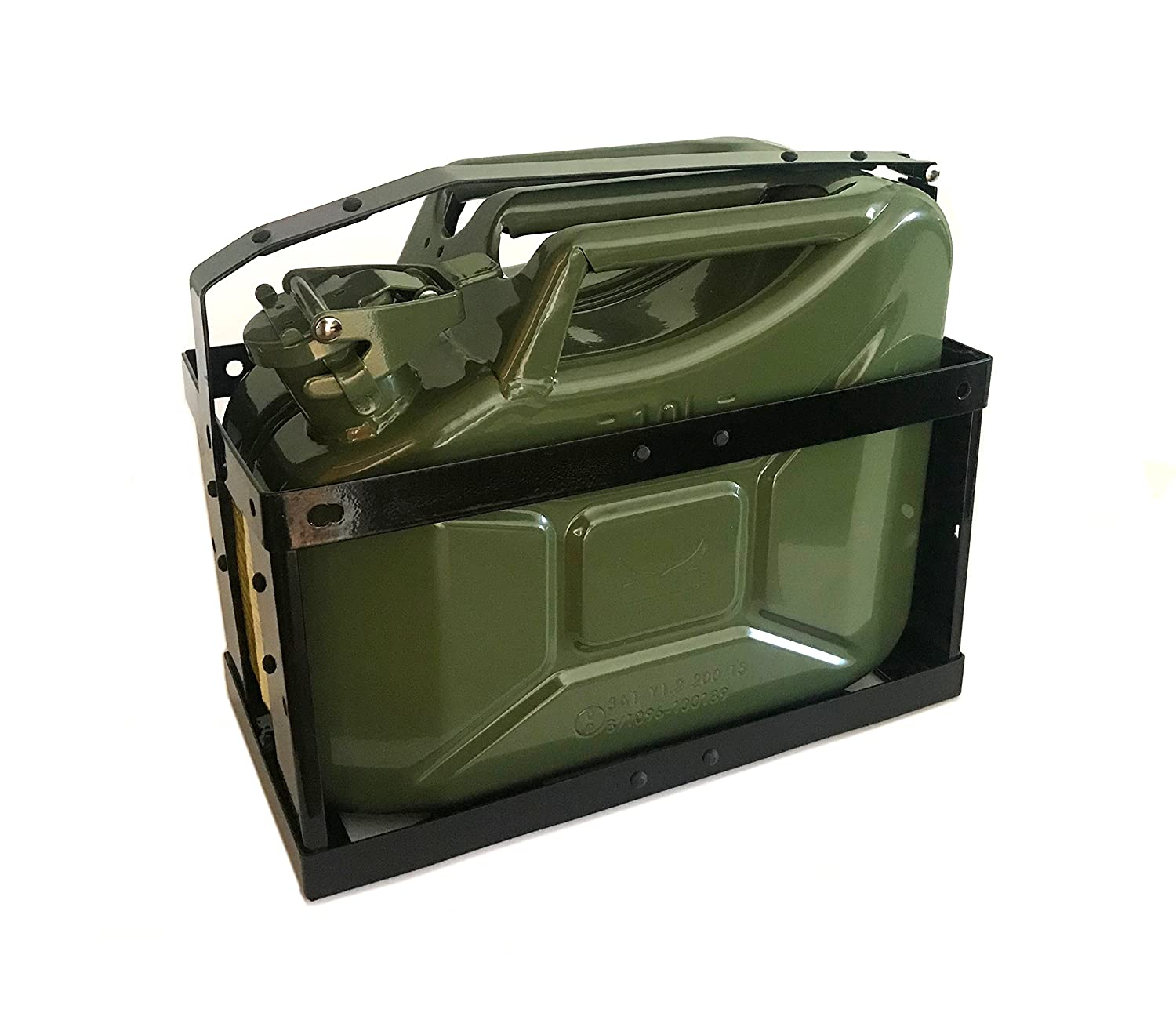 10 Litre Green Jerry Can & Holder for Fuel Petrol Diesel etc - Compact Design ASC
