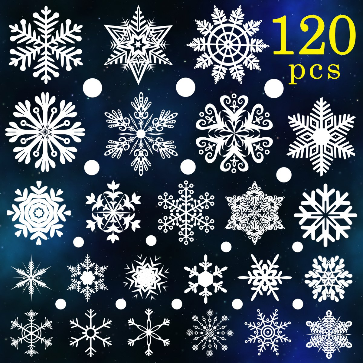 Ivenf 120pcs White Snowflakes Window Clings Decal Winter Wonderland Christmas Decorations Ornaments Holiday Party Supplies (6 Sheets)
